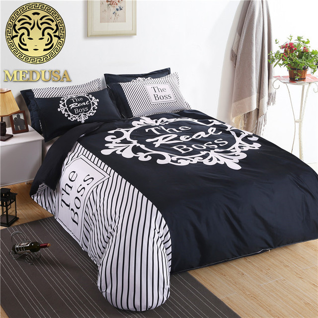 The Boss Black And White His Her Side Bedding Set Duvet Cover Bed