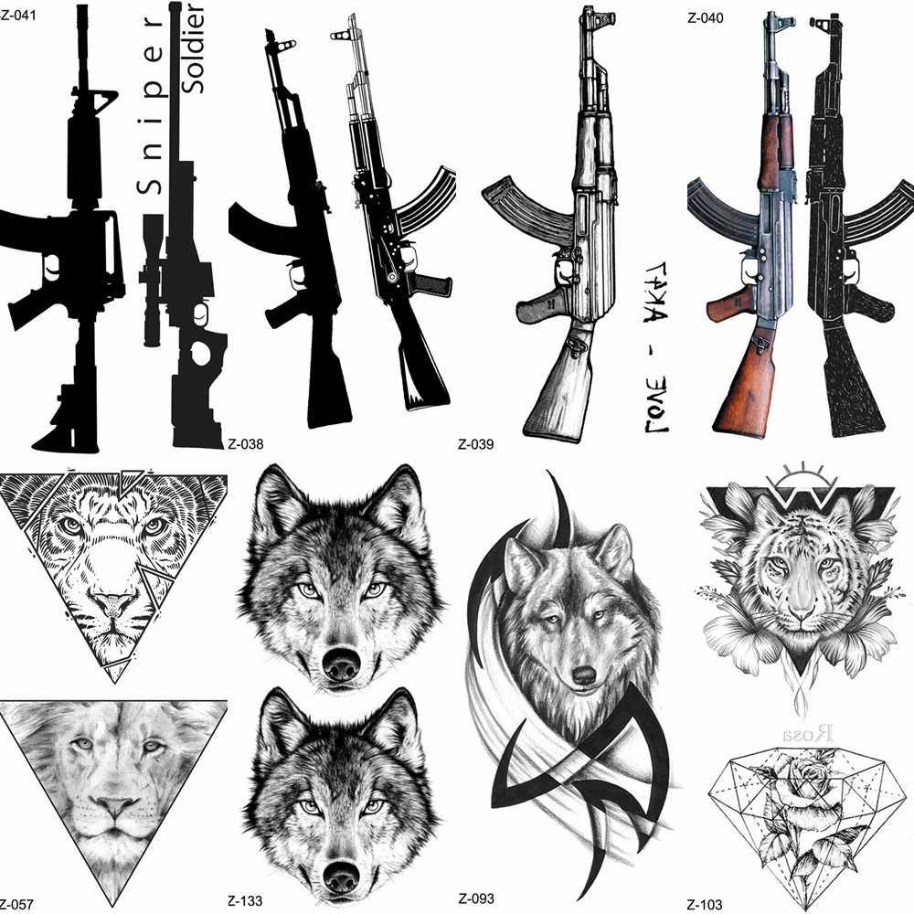 يوران الأسود بندقية بندقية مؤقتة لصاقات وشم المرأة قناص مقاوم للماء الوشم AK AKM M4 الجندي الرجال المعصم وهمية الوشم الذئب الطوطم