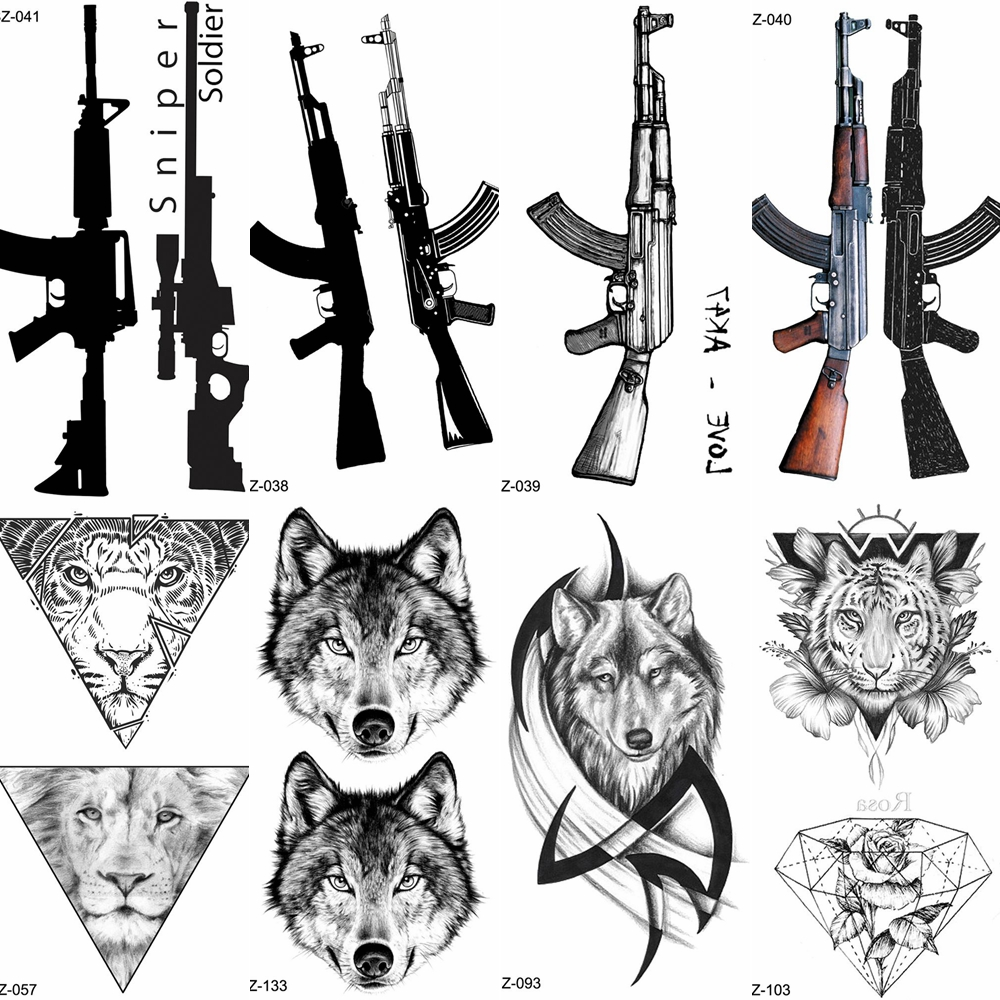 YURAN Black Rifle Gun Temporary Tattoo Stickers Women Sniper Waterproof Tatoo AK AKM M4 Soldier Men Wrist Fake Tattoo Wolf Totem