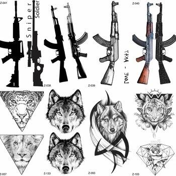 YURAN Black Rifle Gun Temporary Tattoo Stickers Women Sniper Waterproof Tatoo AK AKM M4 Soldier Men Wrist Fake Tattoo Wolf Totem