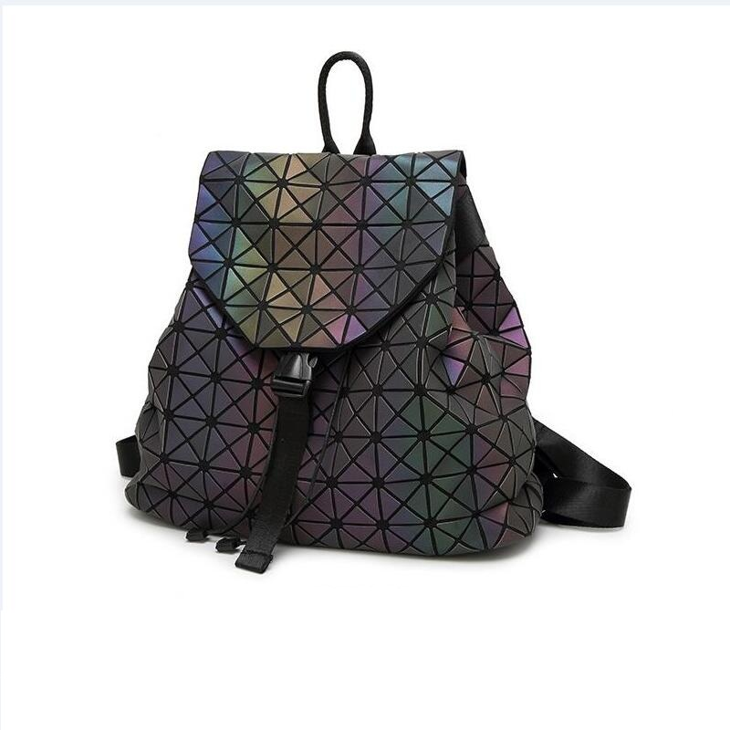 With Logo BAOBAO Bag women backpack Geometric Shoulder Student s School Bag Hologram Luminous backpack Laser