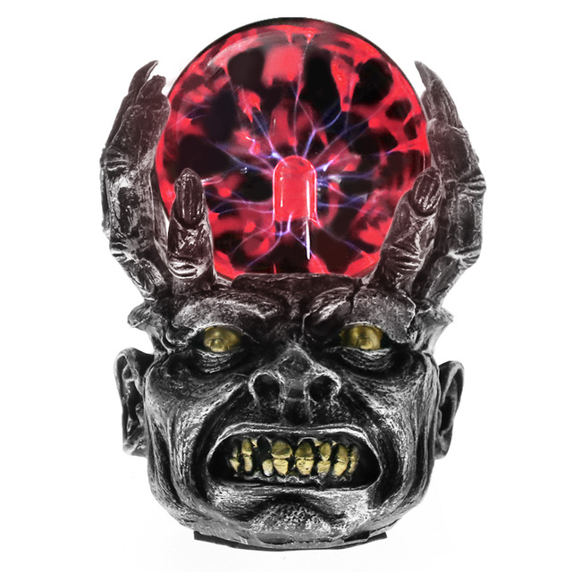 Wicked Cranio Testa Sfera di Plasma Magica Lampada di Illuminazione Notturna Male Scheletro Del Cranio Al Plasma Globo Halloween Figurine Statua Complementi Arredo Casa Inthetime Store