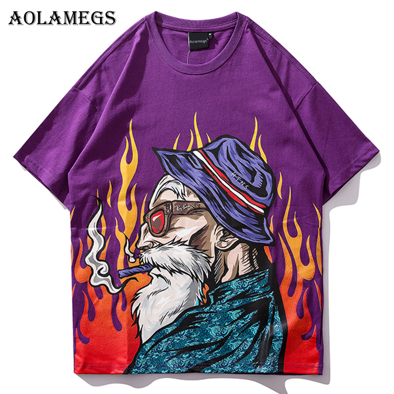 Aolamegs T Shirt Men Japanese Printed Men's Tee Shirts O-neck T Shirt Cotton Fashion Hip Hop Couple High Street Tees Streetwear
