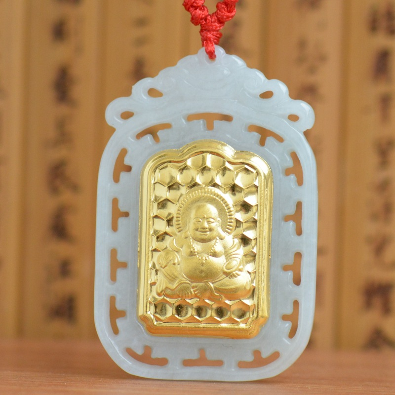 Hight Quality Jade Necklace For Men Women Hollow Buddha Yellow Jade Pendants for Men Jewelry Good Luck Best Gift For friend цена 2017