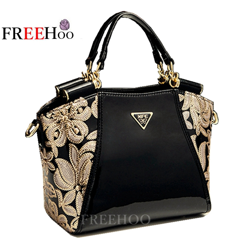 2017 new European and American fashion brand female handbag Patent leather women bags european and american 2017 new lychee grain 100