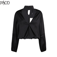 MCO Elegant Lace Crochet Long Sleeves Plus Size Chocker Women Blouse Oversized Basic OL Ladies Top