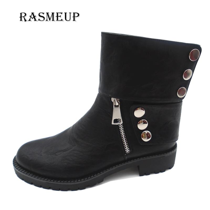 RASMEUP Fashion Button Zip Ankle Boots Autumn Winter Leather Women Square Heel Shoes Round Toe Warm Plush Martin Boots