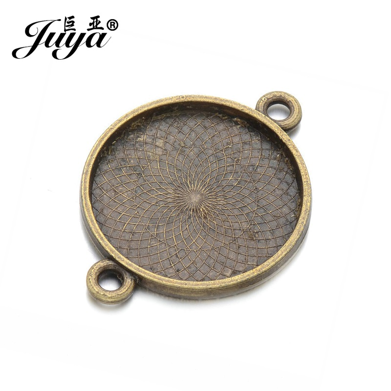 JUYA 6pcs Vintage Antique Silver Antique Bronze Color Alloy 25mm Inner Size Round Cameo Cabochon Base Setting Connector AD0119