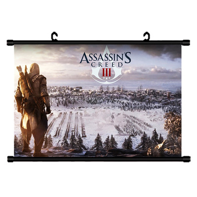 Assassins Creed Star Wars My Hero Academia Scroll Painting Anime Wall Hanging Poster Canvas 24 Styles Home Art Decoration 23