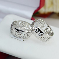 Elegant Hollow Camellia Ring 2015 New Design Titanium Steel Rose Gold Plated Fashion Jewelry Woman Gift