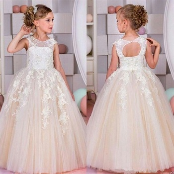 Brand New Flower Girl Dresses for Wedding Lovely Keyhole Little Girl Kid/Child Dress Ball Gown Party Pageant Communion Dress new cute sleeveless criss cross back backless puffy tiered scoop neck white ball gown flower girl dress for wedding kid gown