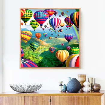 Huacan New Arrivals 5d Diamond Painting Landscape Full Square round Diamond Embroidery Balloon Mosaic Picture