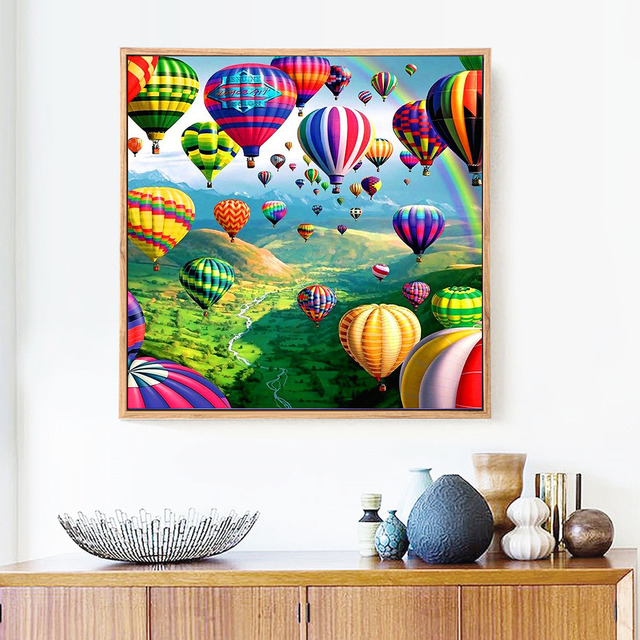 Huacan New Arrivals 5d Diamond Painting Landscape Full Square round Diamond Embroidery Balloon Mosaic Picture Of