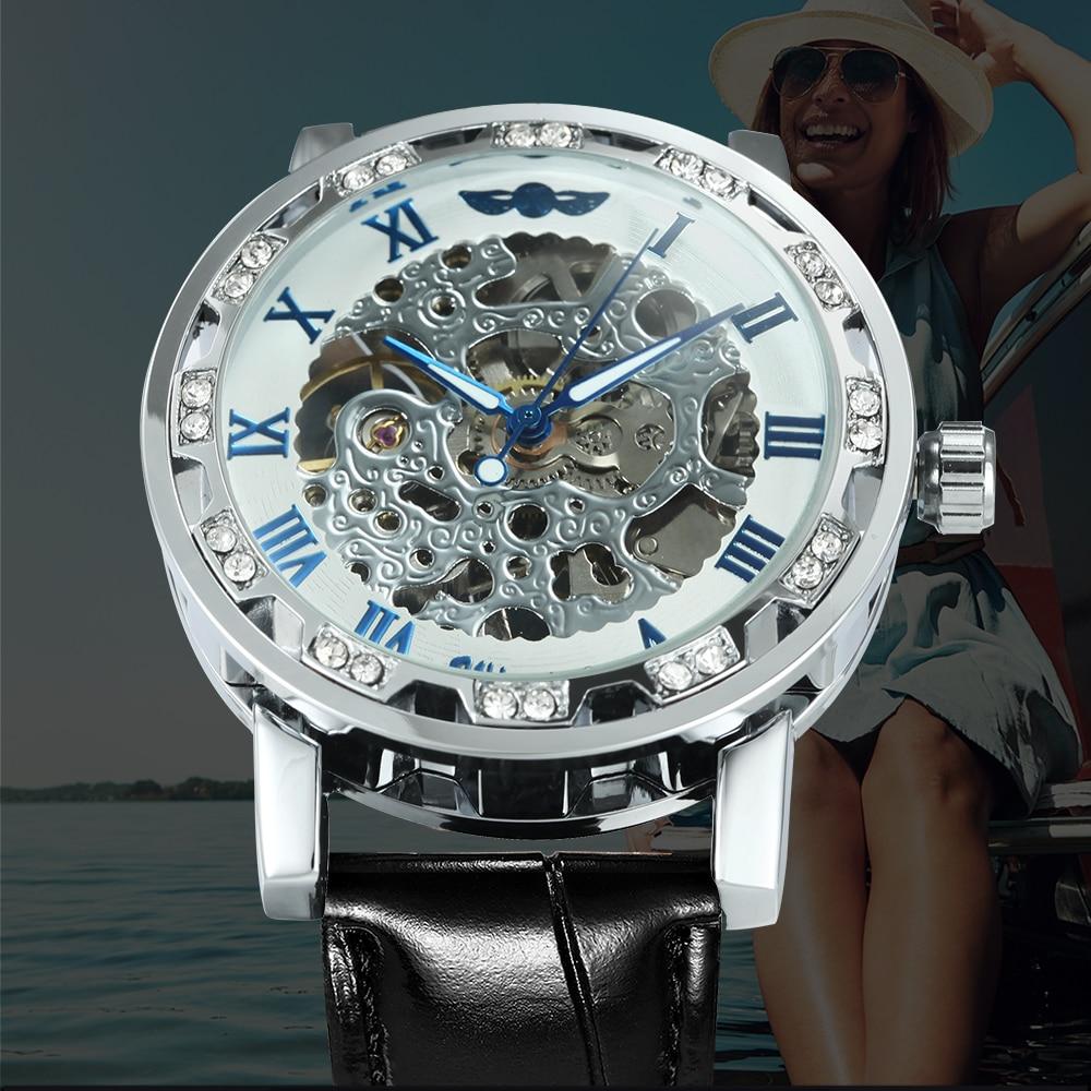 Fashion Watches Skeleton Diamond Watch For Women Iced Out Design Genuine Leather Strap Elegant Luxury Mechanical Ladies Relogio