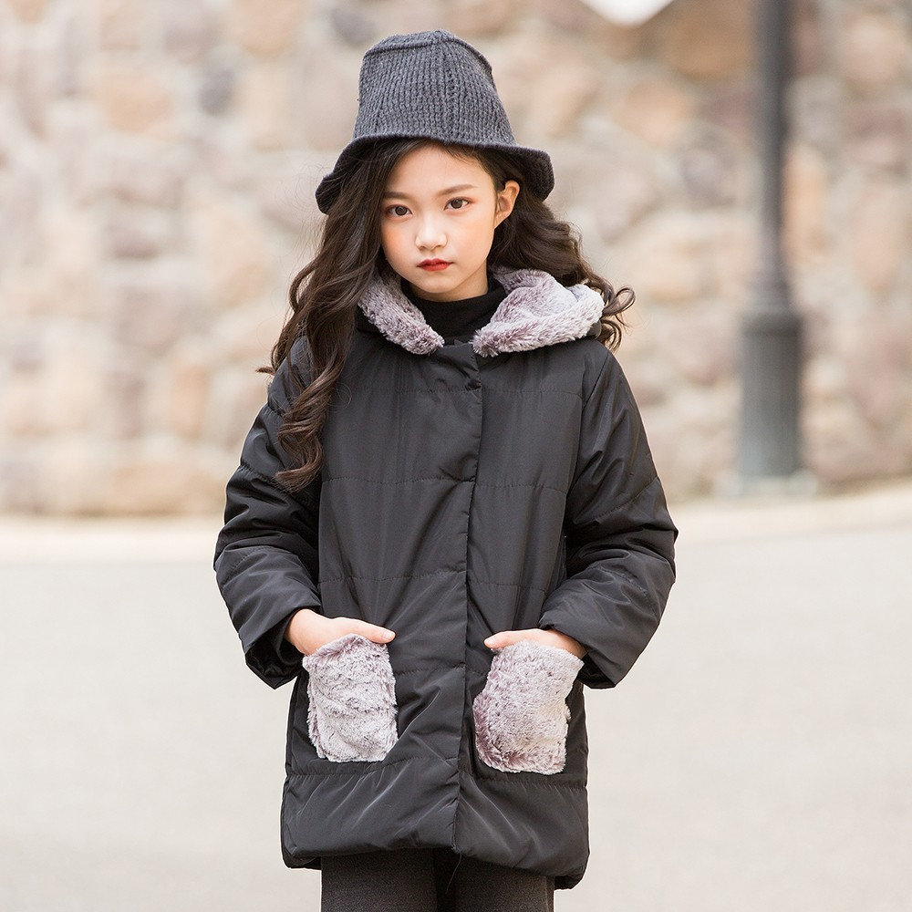 Cotton Padded Toddler Girl Coats Winter With Fur Pockets Christmas Grey Black Long Big Kids Coat And Jacket Children Clothing furry hood drawstring pockets zip up padded coat