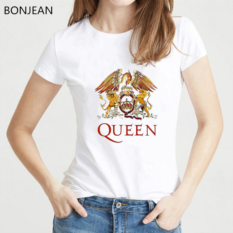Freddie Mercury The Queen Band   T     Shirt   Women Hip Hop Retro Rock Hipster tshirt vague casual   t  -  shirt   Female white Tops Tees