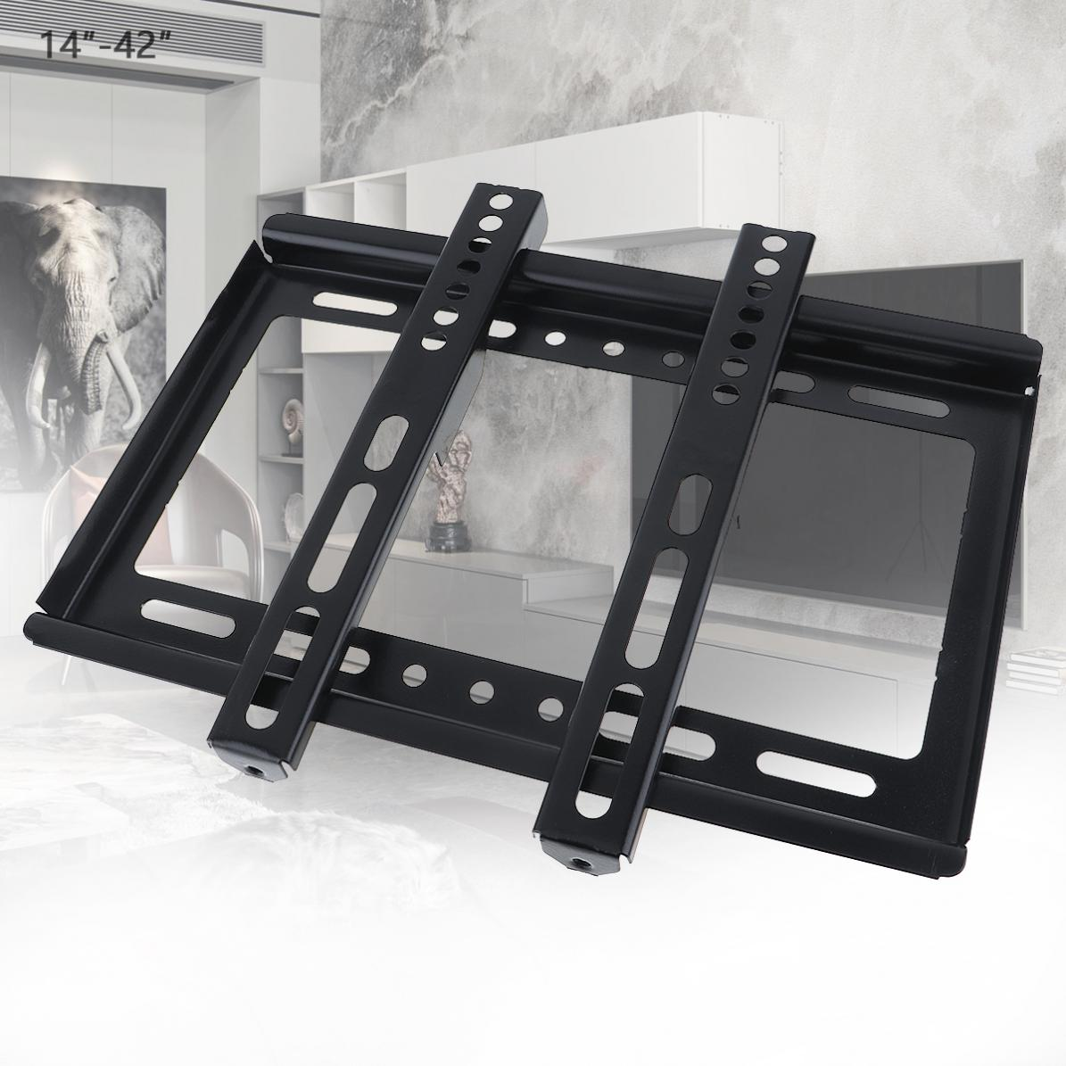Universal Thin 25KG Black TV Wall Mount Bracket Flat Panel TV Frame with Gradienter for 14-42 Inch LCD LED Monitor Flat Pan(China)