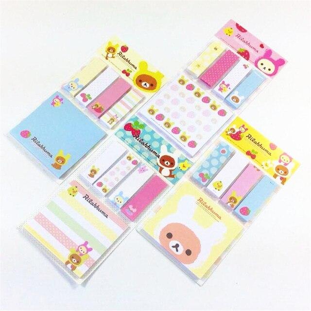 Rilakkuma Bloc de notas de dibujos animados, 20 unidades por lote, Bloc de notas adhesivas, papel extraíble, venta al por mayor