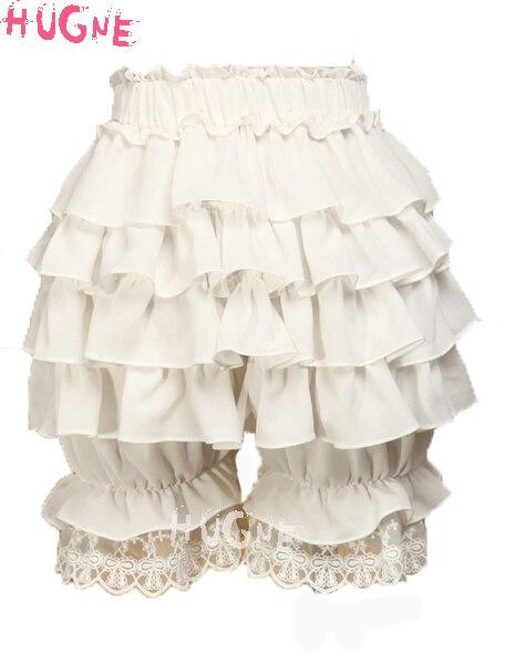 Été mousseline de soie Douce Lolita culotte Défaites shorts Dentelle Ruches Blanc élastique mousseline