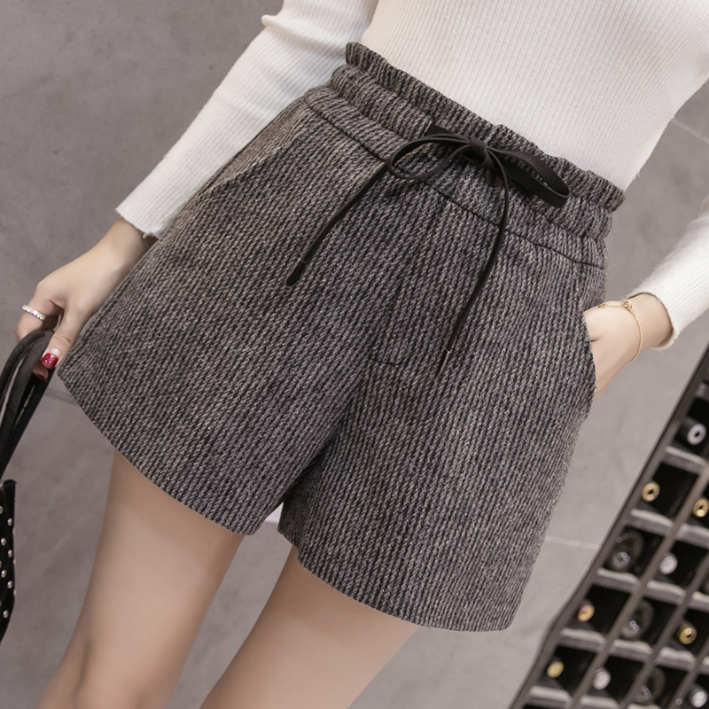2019 New Autumn Winter Wool   Shorts   Womens Fashion Lace-up High Waist Woolen   Shorts   Female Casual Boots   Shorts