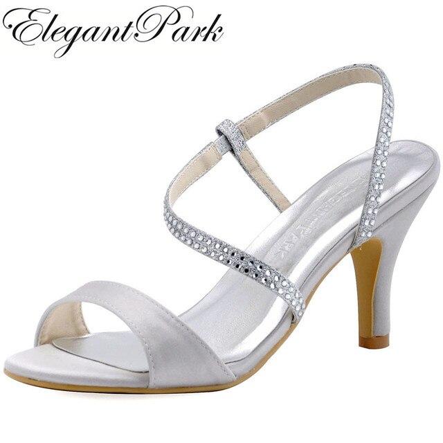 HP1531 Wanita Sandal Perak Kaki Terbuka Satin Glitter Sepatu Hak Tinggi  Malam Pesta Pernikahan Sandal Wanita 2c714d24a4