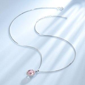 Image 3 - UMCHO Luxus Rosa Saphir Morganite Anhänger Für Frauen Echt 925 Sterling Silber Halsketten Link Kette Schmuck Engagement Geschenk Neue
