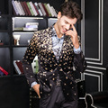 2016 Flor de Otoño Invierno de Los Hombres Chaquetas delgadas Ocasionales de Los Hombres fit Chaquetas de Los Hombres de Terciopelo de Oro de Alta Calidad de vestir de negocios