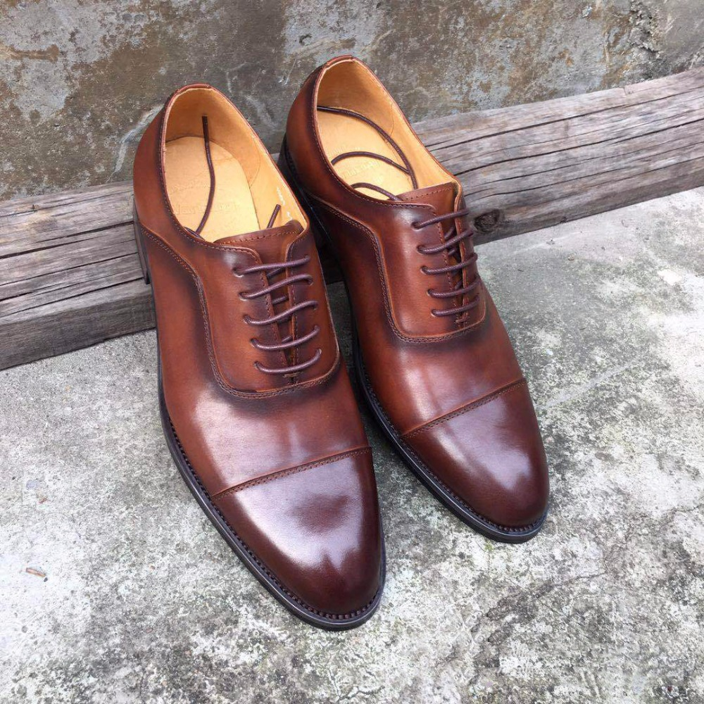 DESAI Luxry Brand Full Grain Genuine Leather Business Dress Shoes Men Retro Leather Oxford Shoes For