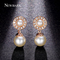 NEWBARK Mother's Day Gift ! Cute Simulated Pearl Earrings for Women 1Pair 4pcs Imitated Pearl Beads Rose Gold Plated Fashion