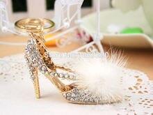High-heeled shoes Keychain Car Keyring Rhinestone Crystal Charm Pendant Key Bag Chain Gift New Fashion Free Shipping