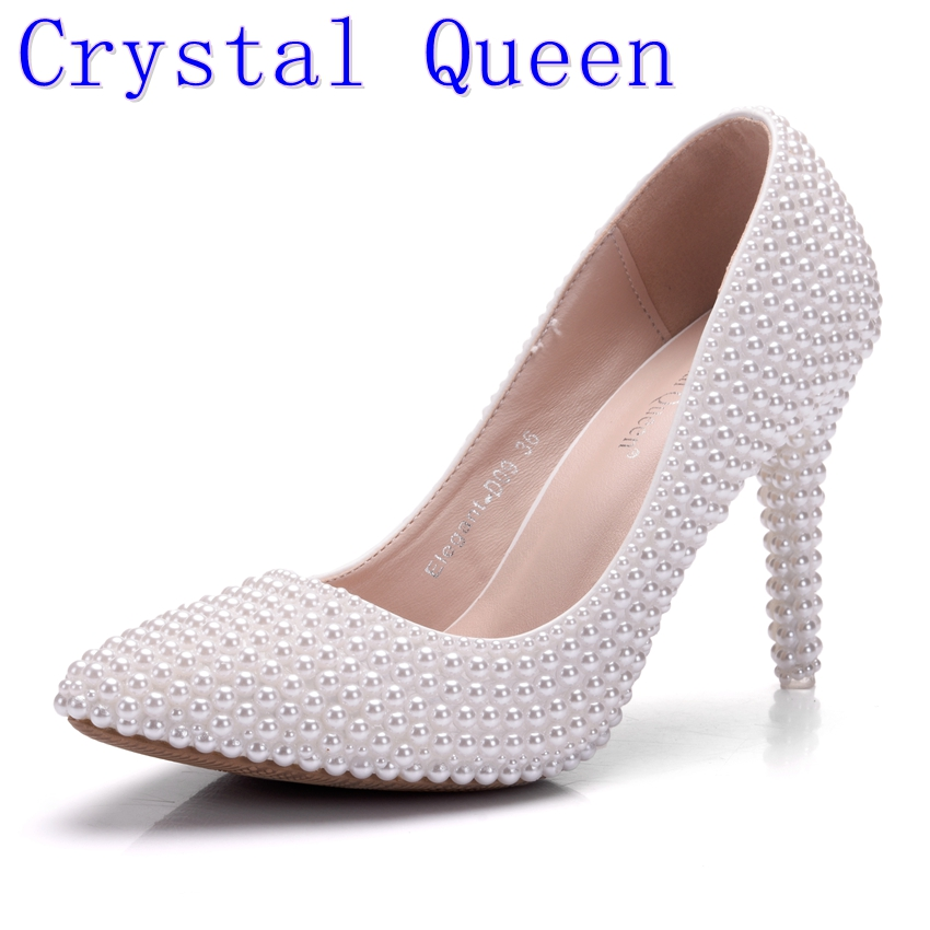 Crystal Queen Pearl White Fashion Women's Wedding Pumps High Heel Wedding Shoes Gentlewomen Bridal Shoes Lady Party Shoes 9CM fashion rhinestone super high heel bridal dress shoes white flower pearl crystal wedding shoes round toe wedding ceremony pumps