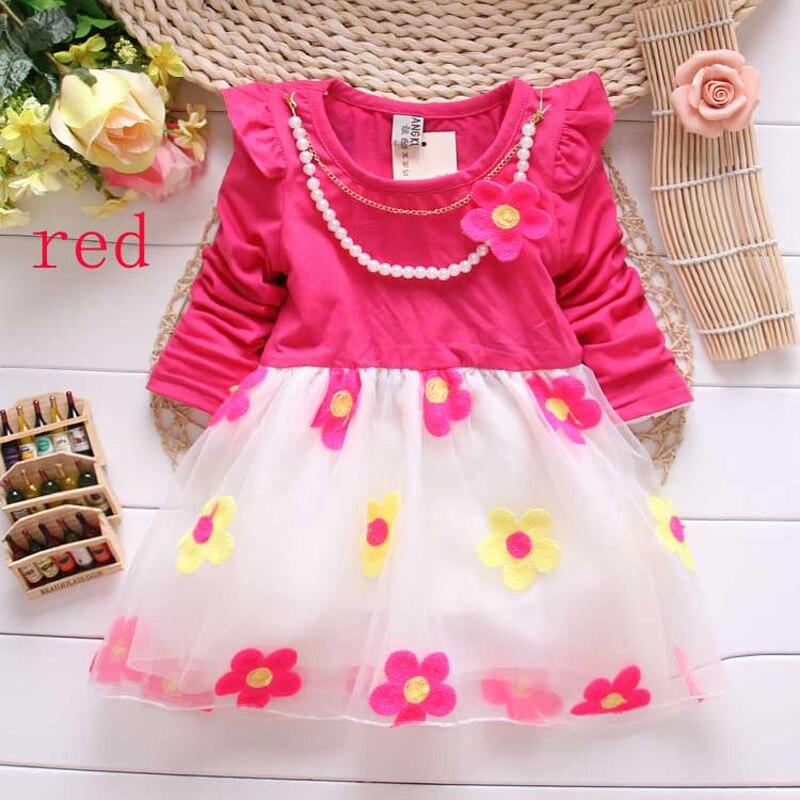 2018 girl princess dress Cute sweet flower necklace children baby dress fashion Girls dance dress 3 colors
