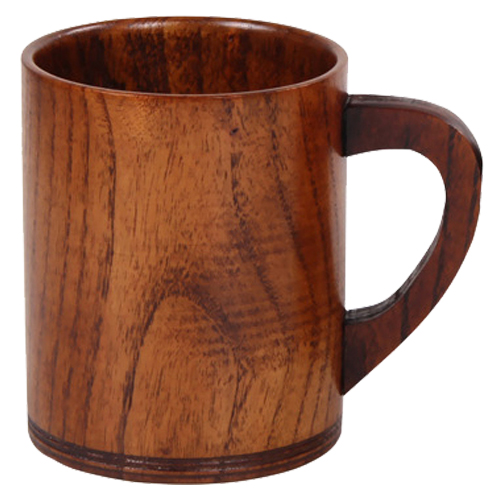 FJS Wooden Cup Primitive Handmade Natural Wood Coffee Tea Beer Juice Milk Pattern D