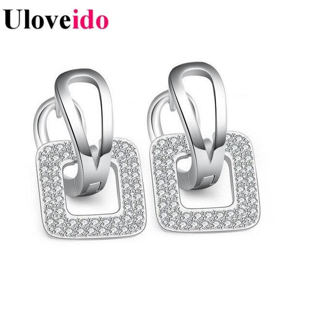 Uloveido Fashion Square Earring Korean Zircon Earings Silver Color Stud Earrings for Women Luxury Jewelry Drop Shipping EH089