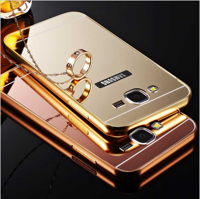 Mirror Aluminum Case For Samsung Galaxy J1 J2 J3 J5 J7 2016 A3 A5 A7 A9 Grand Prime Luxury Metal Frame Acrylic Phone Back Cover