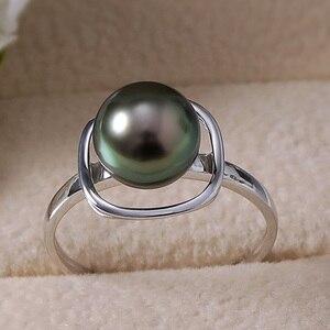 Image 3 - YS Pure 14k золото 8 9 мм, черное Tahitian Жемчужное кольцо, свадебные ювелирные изделия