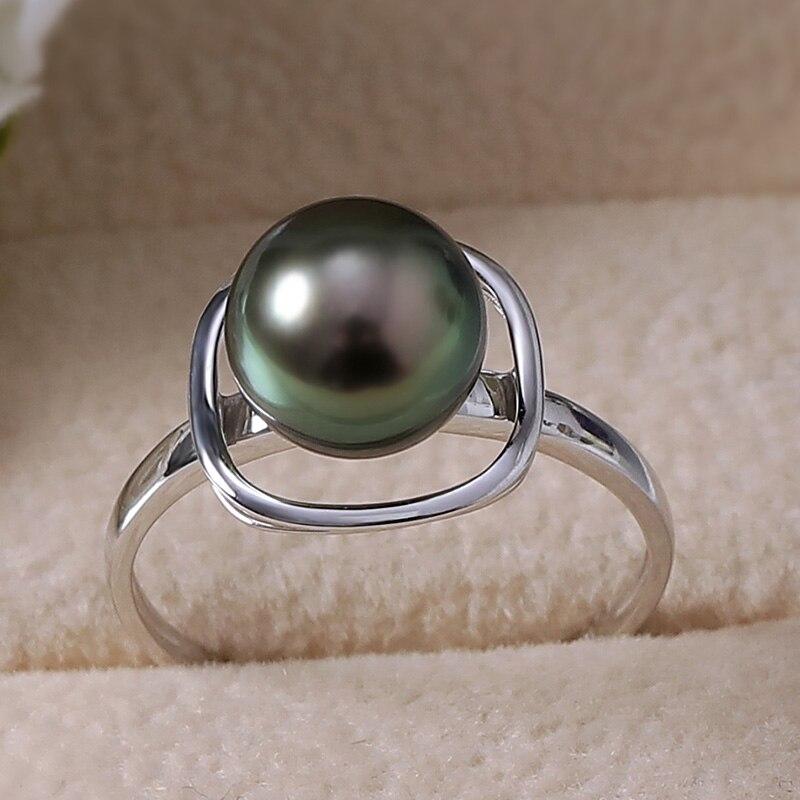 YS Pure 14k Gold 8-9mm Black Tahitian Pearl Ring Wedding Fine Jewelry
