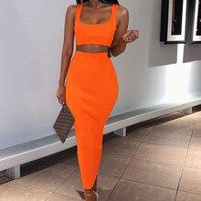 2019 new fashion 2 piece set Skirt High waist Hip Medium-length outfits for women