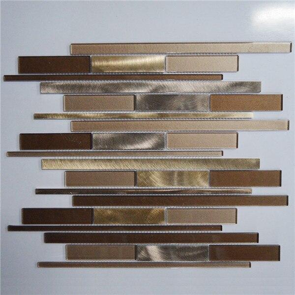 Brown Khaki And Silver Interlocking Metal Gl Mosaic Tile Kitchen Backsplash Bathroom Wall