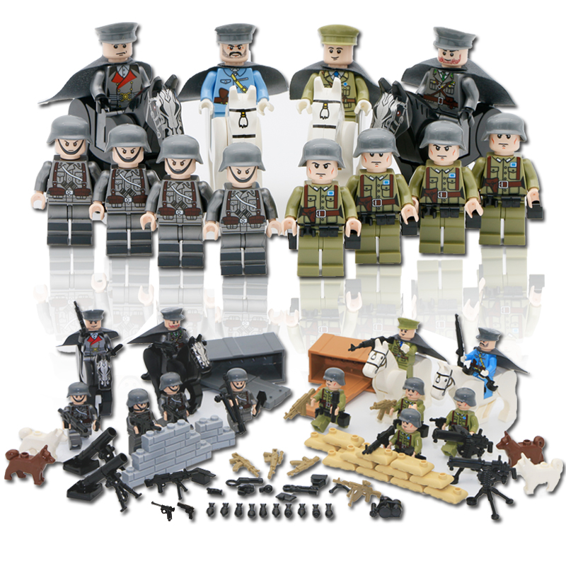 12pcs/Set Army Military Building Blocks With Many Equipmens Weapon Gun Compatible LegoINGly WW2 Soldier Figure World War Toy Boy цена