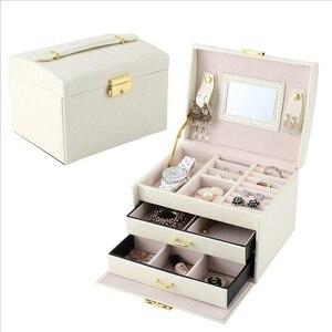 Image 2 - Büyük takı ambalaj ve ekran kutusu PU deri çok katmanlı takı kolye kutusu kozmetik kutusu mücevher kutusu lüks organizatör