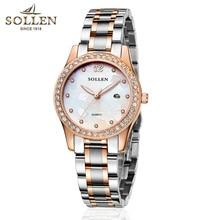 2016 new SOLLEN authentic watches steel strip quartz watch Ms female form luminous watches calendar