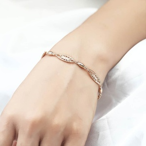 Image 2 - 6mm 585 Rose Gold Bracelet for Womens Girls Elegant Flowers Link Weaving Bracelet Fashion Wedding Jewelry Gift CB12