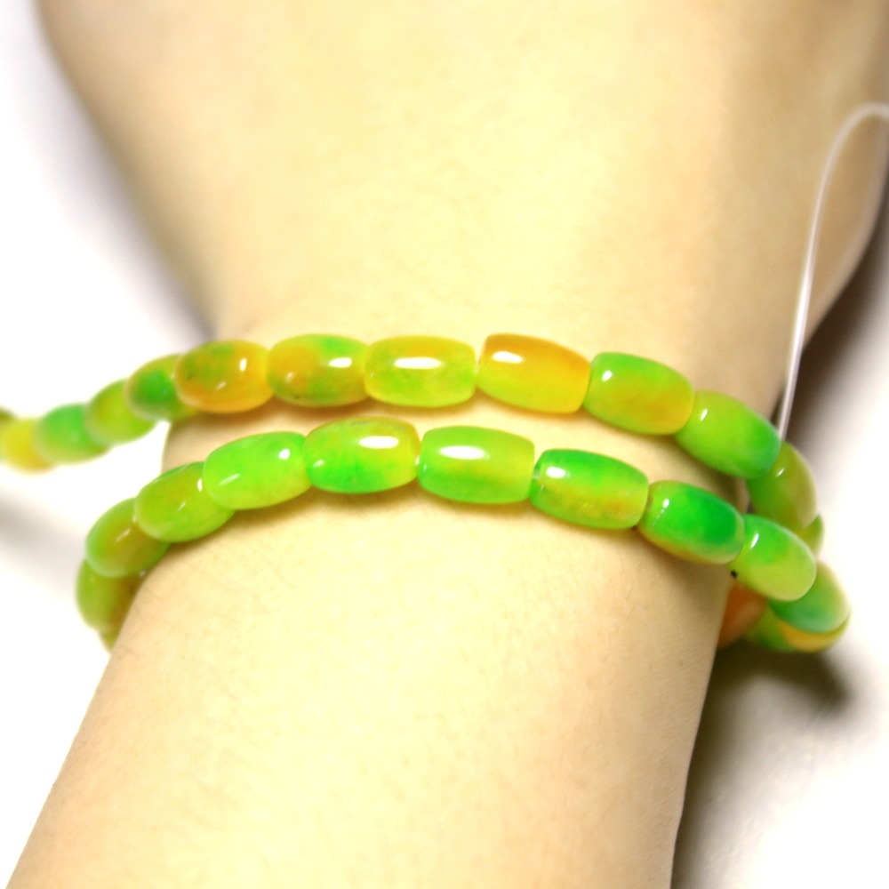 88b58e9b5581 Al por mayor 6 9mm arroz forma verde Amarillo Blanco natural piedra perlas  para joyería hacer DIY pulsera collar 42 unids Strand 15