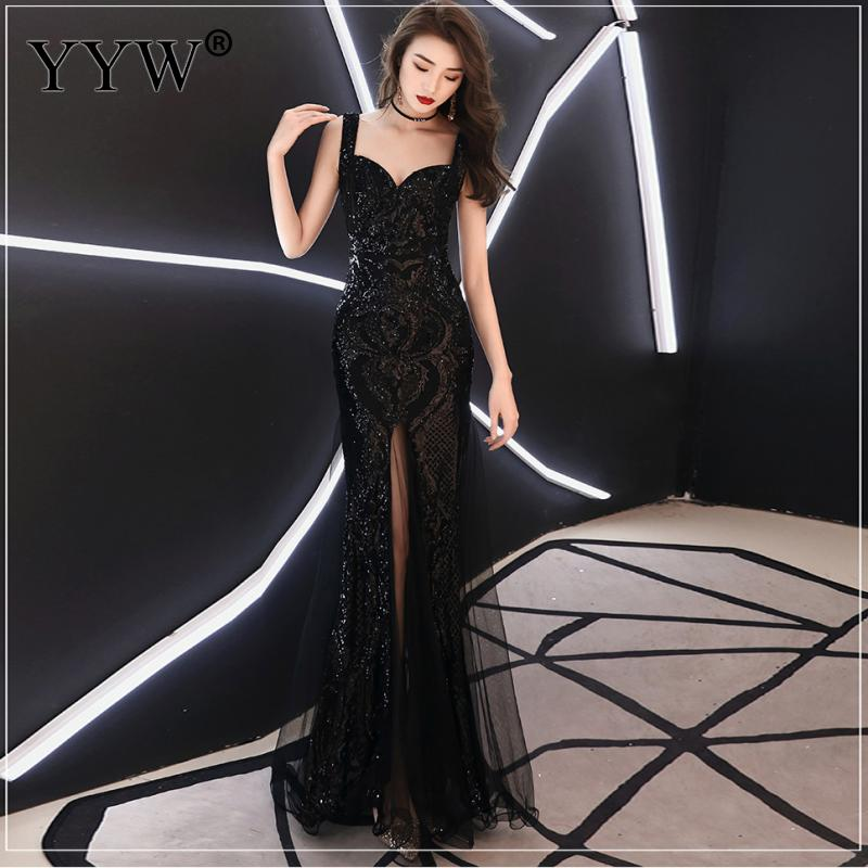 Shinny Gold Sequined V Neck Sleeveless Elegant Evening Dresses Sexy Robe De Soiree Formal Dress Luxury Mesh Club Party Vestidos 5