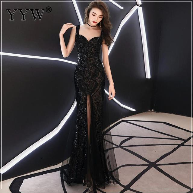 Shinny Gold Sequined V Neck Sleeveless Elegant Evening Dresses Sexy Robe De Soiree Formal Dress Luxury Mesh Club Party Vestidos 5