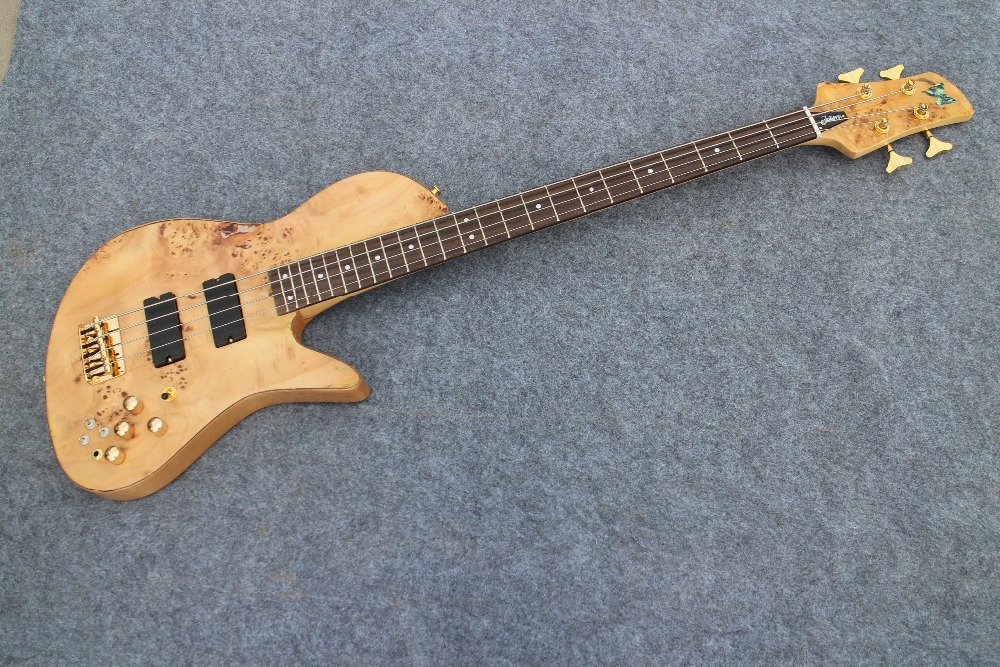 Ash wood body Burl top Quality 4 string gold Hardware butterfly Bass Guitar Guitarra All Color Available custom shop one piece set neck through body 4 strings fodera butterfly bass guitar burl wood cover support bass guitar customize