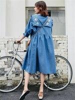 2019 Spring and Summer Elegant Women Dress Jean Retro Loose Pleated Embroidered Dress High Street Ruffles Dress