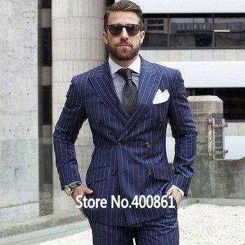 High Quality Stripe Mens Suits Groom Tuxedos Groomsmen Wedding Party Dinner Best Man Suits (Jacket+Pants+Tie) K:2218