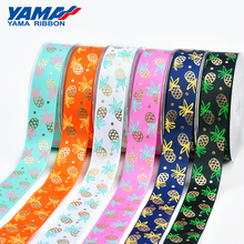 YAMA Gold Foil Stamping Pineapple Printed Ribbon 25mm 1 inch 100Yards/roll Diy Gifts Wedding Party Decoration Ribbons